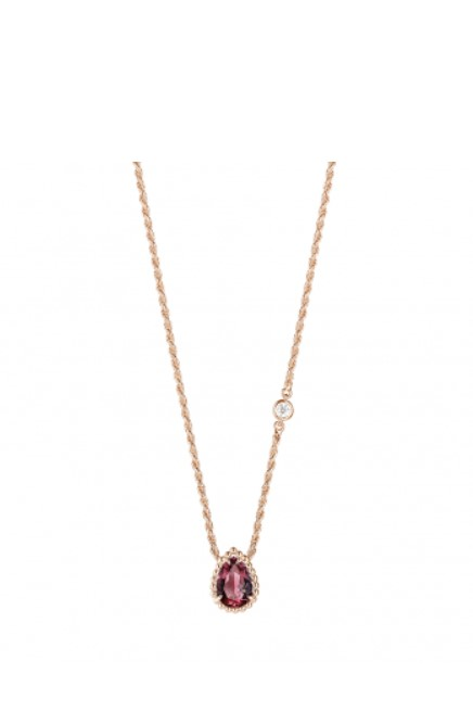 Boucheron Serpent Bohème XS Pendant Set With Rhodolite And Diamond On Pink Gold